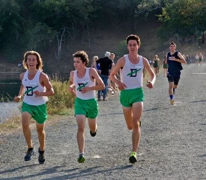 Wyatt Miceli, Griffin Persily and Jeremy Leary finish together in first place at Bon Tempe.