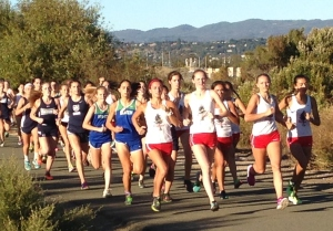 Start of the Girls' Race: Redwood, Branson, MC, JS. The race was eventually won by Grace Dailey of Branson